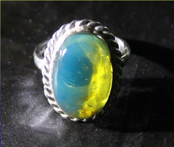 Exquisite Dominican Natural Crystal Clear Sky Blue Amber .925 Sterling Silver Pendant #7.5