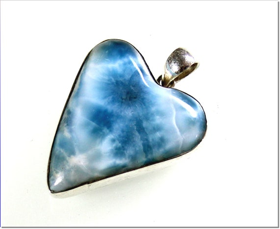 Hugh 1.6inch Natural Deep Blue Larimar .925 Sterling Silver Pendant 1.6inch