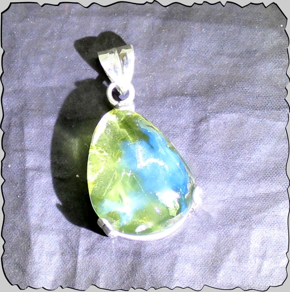 Exquisite Natural Clear Green Blue Amber .925 Sterling Silver Pendant 36mm
