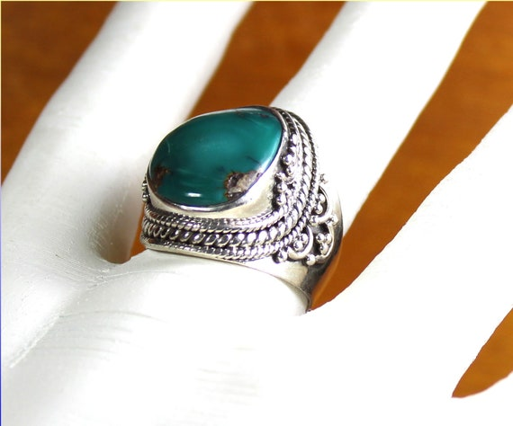 Outstanding Natural Strong Green Bloodstone Chalcedony .925 Sterling Silver Ring #9
