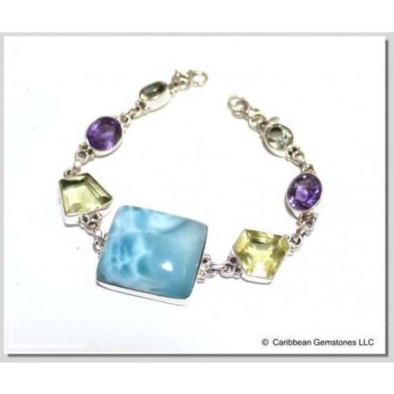 Sky BLUE LARIMAR .925 Sterling Silver Bracelet 20cm