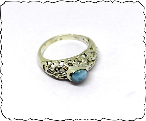 Finest Natural Sky Blue Larimar .925 Sterling Silver Ring #7.5 free resizing
