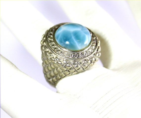 Impressive Natural Sky Blue AAA++ Larimar .925 Sterling Silver Ring #8