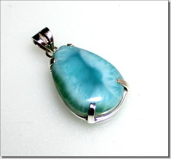 Exquisite Natural Genuine Sky Blue AAA++ Larimar .925 Sterling Silver Pendant 1.6 inch C-37-1808