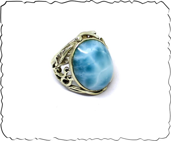 Outstanding Pattern Natural Deep Blue Larimar .925 Sterling Silver Ring #8.5  free resizing