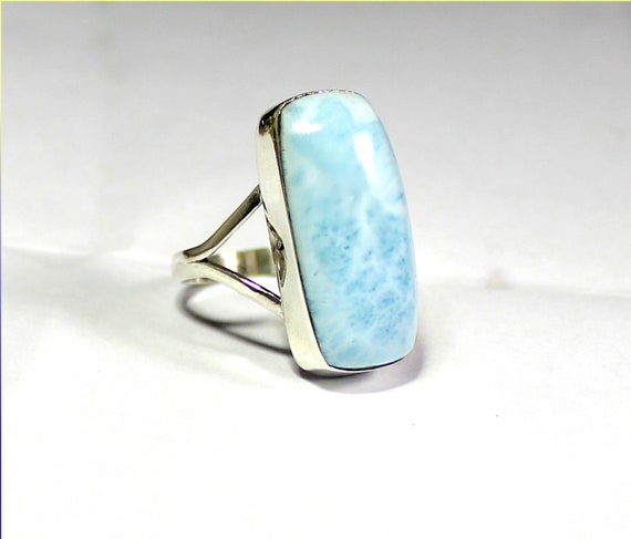 Lovely Natural Light Blue Larimar .925 Sterling Silver Ring #7