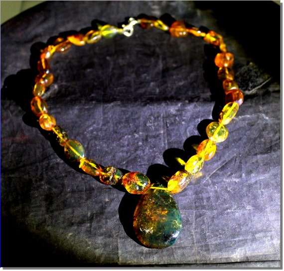 Dominican Natural Clear Green Blue Amber .925 Sterling Silver Necklace 17.2 inch