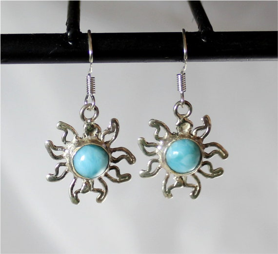 Exquisite Natural Sky Blue Larimar .925 Sterling Silver Dangle Earrings 1.4inch
