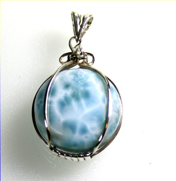 Beautiful Natural Sky Blue Larimar .925 Sterling Silver Pendant 1.8 inch