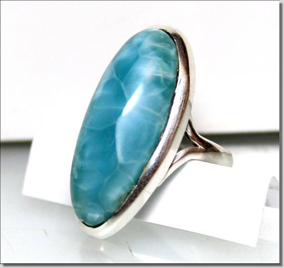 Exquisite Natural Genuine Sky Blue AAA++ Larimar .925 Sterling Silver Ring #6.5 C-10-1810