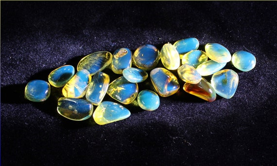 Wholesale liquidation lot, 22 Dominican Clear Sky Blue Amber polished Cabochon Beads stones