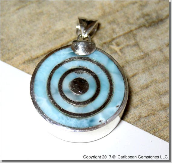 Exquisite Handcrafted Sky Blue Larimar .925 Sterling Silver Target inlayed Pendant 45mm C-84-1793