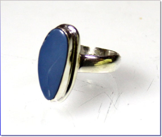 Excellent Natural  Blue Lapis .925 Sterling Silver Ring #8.5