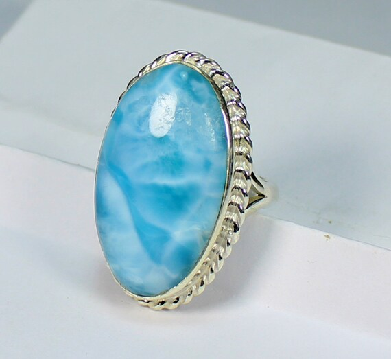 Exquisite Sky Blue AAA++ Larimar .925 Sterling Silver Ring #7.5  C-15-1731