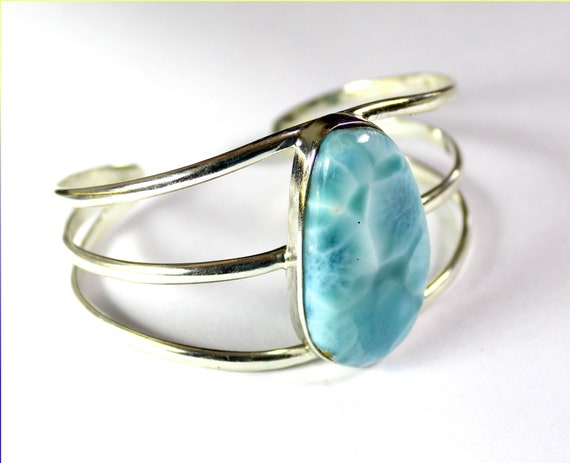 Exquisite Biggest 1.5inch Natural Sky Blue AAA++ Larimar .925 Sterling Silver Bangle