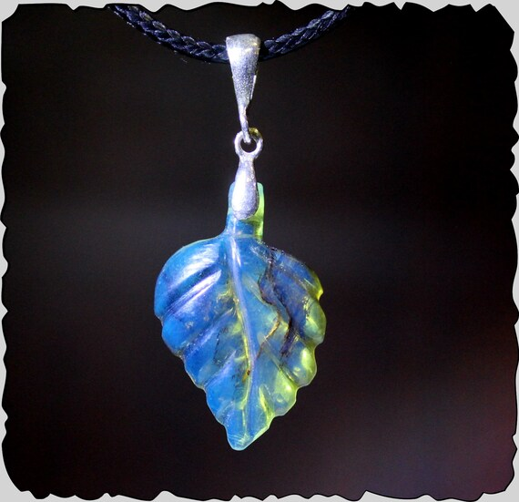 Exquisite Dominican Natural Clear Sky Blue  Amber .925 Sterling Silver Leaf Carving Pendant 1.6inch