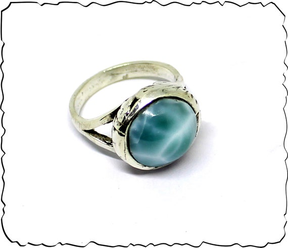 Exquisite Natural Deep Blue AAA++ Larimar .925 Sterling Silver Ring #7