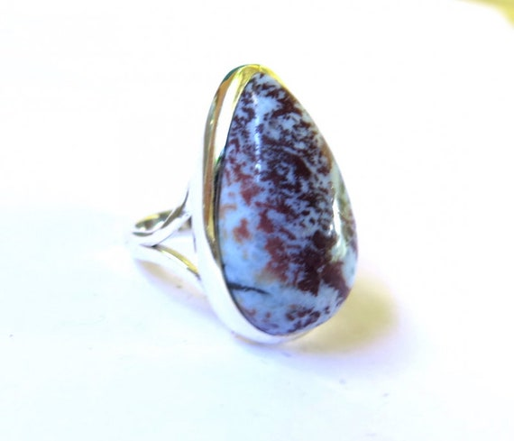 Exquisite Light Blue Red Larimar .925 Sterling Silver Ring #8
