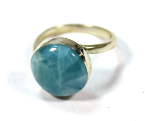 Excellent Deep Blue Larimar .925 Sterling Silver Ring #8.5  C-82-1734