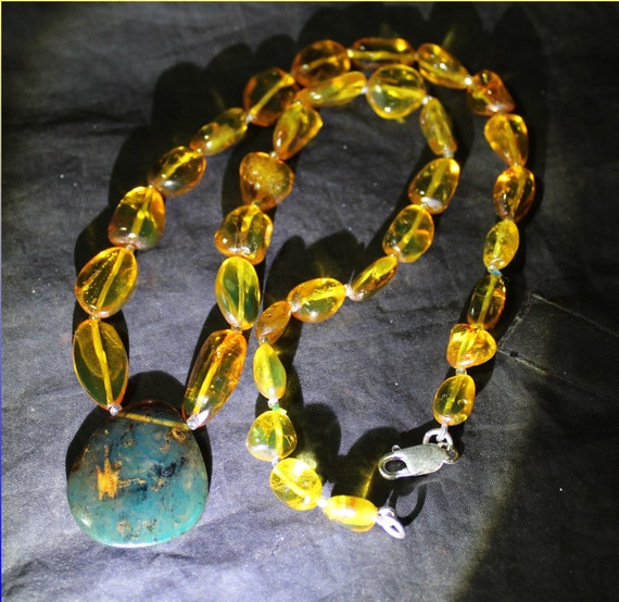 Dominican Exquisite Natural Clear Sky Blue Amber .925 Sterling Silver Necklace 20inch