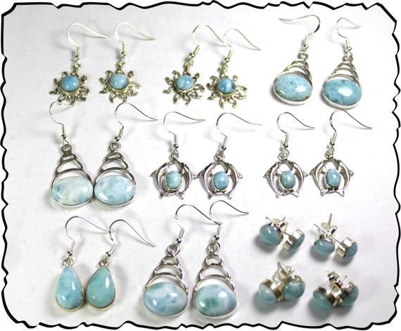 Wholesale Liquidation lot 12 Sky Blue Genuine Larimar .925 Sterling Silver Earrings 56 grams
