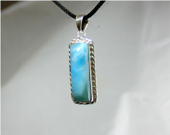 Exquisite Natural Genuine Sky Blue Green Larimar .925 Sterling Silver Pendant 1.8 inch
