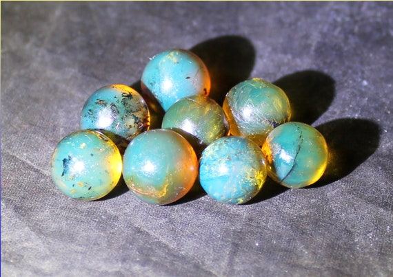 Lot 8 Dominican Natural Clear Sky Blue Amber Sphere Round Beads 4grams free drilling 10mm
