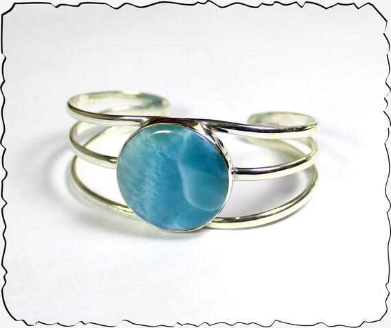 Premium Natural Volcanic Blue AAA++ Larimar .925 Sterling Silver Cuff Bracelet