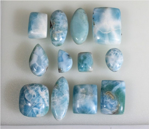 Wholesale Lot 12 Sky Blue Larimar Cabochons 64g biggest stone 29mm
