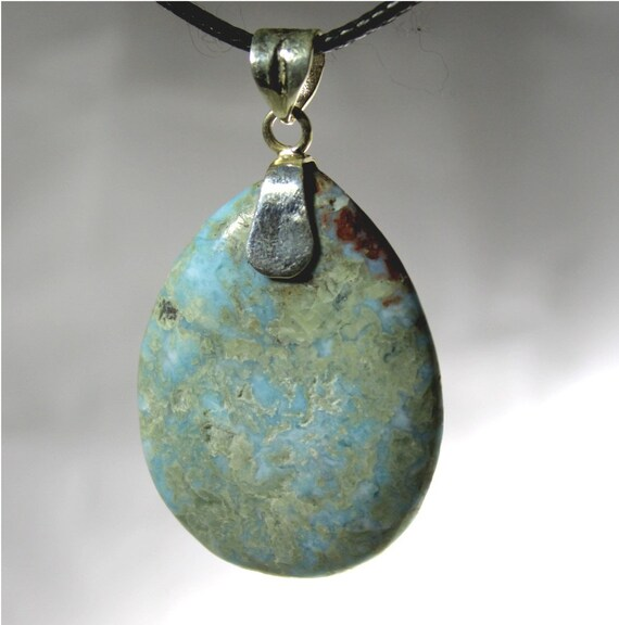 Hugh 2 inch Natural Light Blue Larimar .925 Sterling Silver Pendant 84 carats