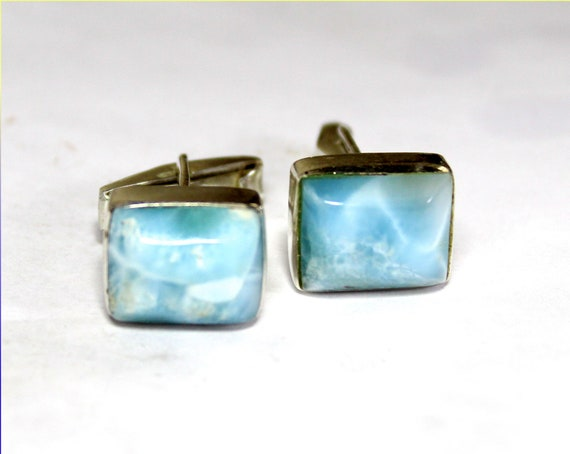 Exquisite  Natural Sky Blue Larimar .925 Sterling Silver Rect. Cuff links  15mm