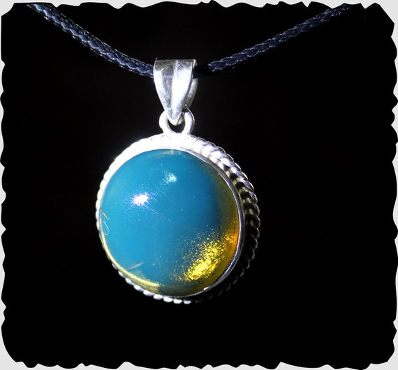 Exquisite 1.4 inch Highest Grade Natural Crystal Clear Sky Blue AAA++ Amber .925 Sterling Silver Pendant