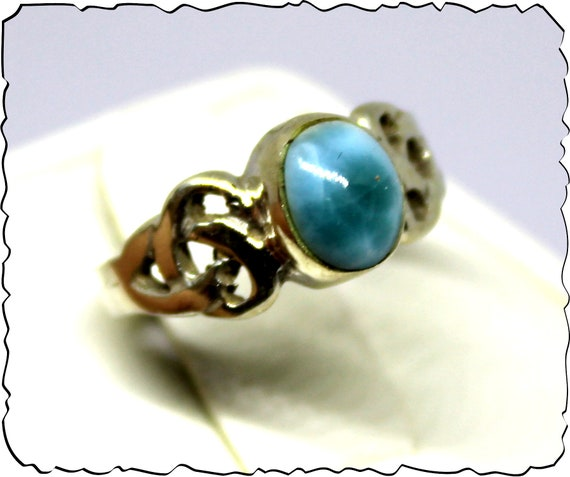 Exquisite Natural Ocean Blue Larimar .925 Sterling Silver Ring #4.5 free resizing
