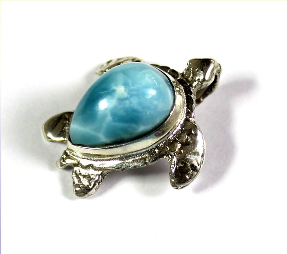 Exquisite Natural Sky Blue Larimar .925 Sterling Silver Turtle Pendant 1inch