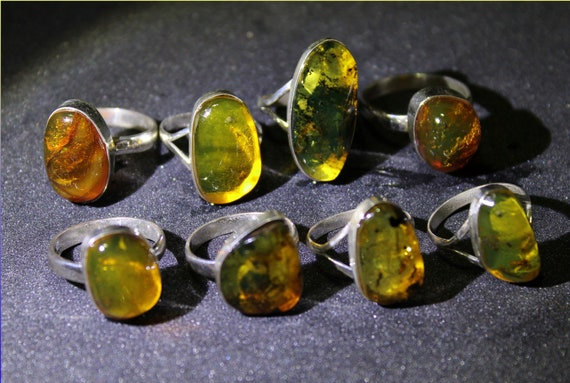 Wholesale Liquidation Lot 12 Red Green Yellow Amber .925 Sterling Silver Rings 24g