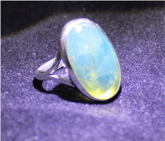 Dominican Natural Crystal Clear Sky Blue Amber .925 Sterling Silver Ring #8