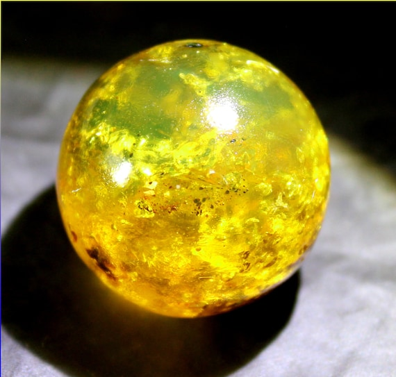 Dominican Natural Clear Green Yellow Amber Sphere Round Bead 23mm free drilling