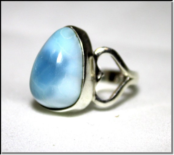 Impressive Natural Genuine Sky Blue Larimar .925 Sterling Silver Ring #5.5 C-69-1817