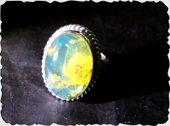 Premium Dominican Natural Clear Sky Blue AAA++ Amber .925 Sterling Silver Ring #8.5