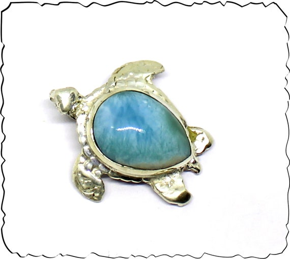 Exquisite 1inch Natural Sky Blue Larimar .925 Sterling Silver Turtle Pendant