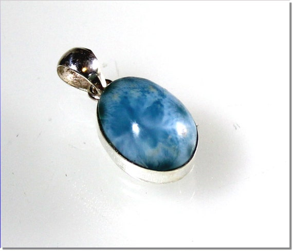 Exquisite Natural Volcanic Blue Larimar .925 Sterling Silver Pendant 1.1inch
