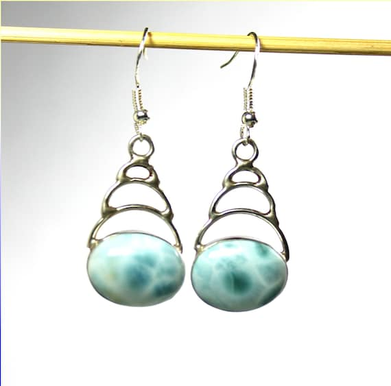 Charming Design Natural Light Blue Larimar .925 Sterling Silver Earrings 1.8inch