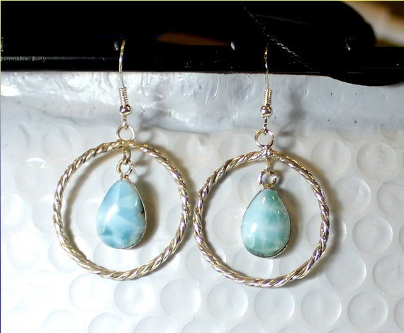 Beautiful Natural Sky Blue Larimar .925 Sterling Silver Earrings 2.1inch