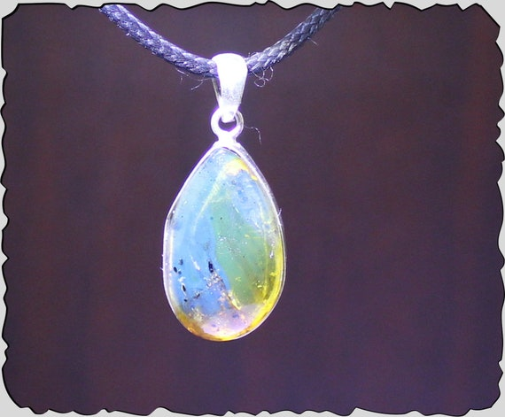 Beautiful Natural Clear Light Green Blue Amber .925 Sterling Silver Pendant 1.3inch