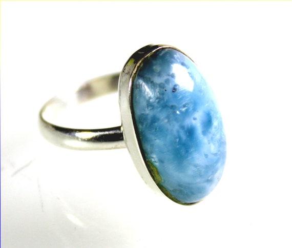 Impressive Natural Volcanic Blue Larimar .925 Sterling Silver Ring #7.5