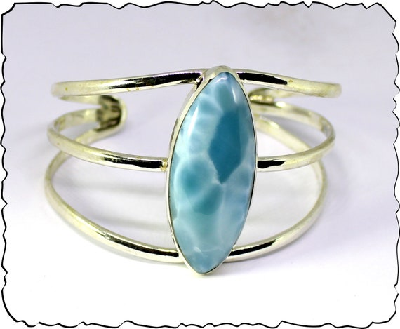 Exquisite Natural Sky Blue AAA++ Larimar .925 Sterling Silver Bangle 6.5inch