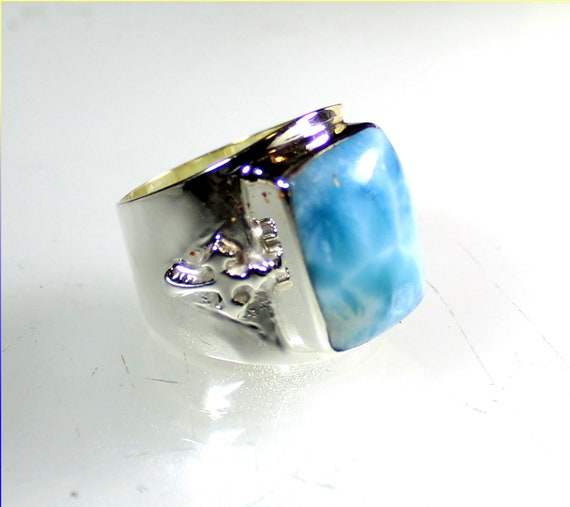 Outstanding Natural Sky Blue AAA++ Larimar .925 Sterling Silver Templer Ring #11.5