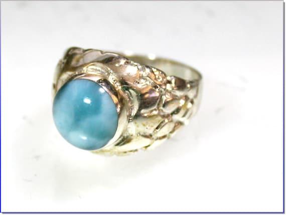 Splendid Natural Sky Blue Larimar .925 Sterling Silver Ring #10 for men, unisex