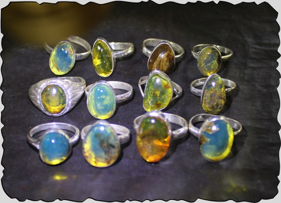 Wholesale Liquidation Lot 12 Genuine Dominican Blue Green OrangeAmber 925 Sterling Silver Rings #6-9