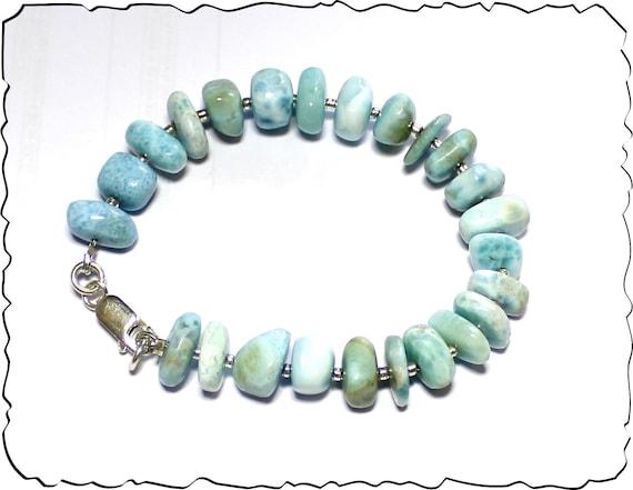 Charming Design Natural Sky Blue Freeform Bead Larimar .925 Sterling Silver Bracelet 7.5inch